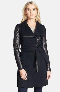 Mackage Hemy Black wool 3/4 length Leather Sleeve Coat jacket SZ XS 2 - 4  $690