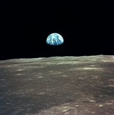 """Earth rising over """"Sea of Tranquility"""", Moon. (Apollo 11, July 1969)"""