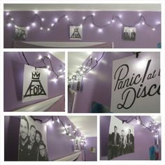 Fall Out Boy and Panic! At the Disco themed bedroom! I want my room like this… Emo Bedroom, Bedroom Themes, Bedroom Ideas, Bedroom Decor, Diy Dorm Decor, Dorm Decorations, Awesome Bedrooms, Cool Rooms, Twenty One Pilots