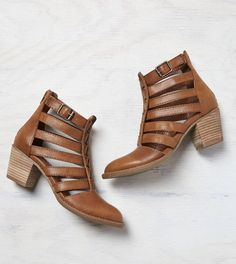Washed Tan AEO Strappy Cutout Bootie