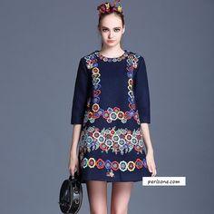Short Dress, Basics, Round Collar, Mid Waist