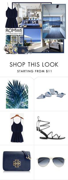 """Navy Chiffon Romper - Contest!"" by asia-12 ❤ liked on Polyvore featuring Brisas, Anine Bing, Tory Burch and Calvin Klein"