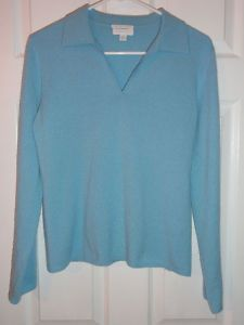 $49.95 OBO Women's Charter Club 2 Ply 100% Cashmere Pale Blue V Neck Sweater Size: Medium