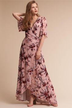 BHLDN Floret Burnout Velvet Dress Pink Floral  in  Occasion Dresses | BHLDN