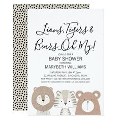 Shop Lions Tigers & Bears Animal Baby Shower Party Card created by HappyAppleCanvas. Personalize it with photos & text or purchase as is! Beach Theme Wedding Invitations, Custom Baby Shower Invitations, Wedding Stationary, Birthday Invitations, Babyshower Invites, Cute Wild Animals, Baby Animals, Shower Party, Baby Shower Parties