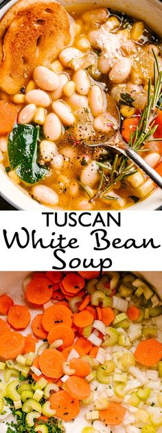 This easy White Bean Soup is loaded with fresh veggies and topped with grated Parmesan. Its freezer friendly too so dont forget to freeze some for later! Tuscan Bean Soup, White Bean Soup, White Beans, Italian Bean Soup, Italian Meals, Italian Pasta, Italian Recipes, Bean Soup Recipes, Vegetarian Recipes