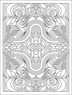 Difficult Geometric Design Coloring Pages | Deco Tech Geometric Coloring Book | Additional photo (inside page)
