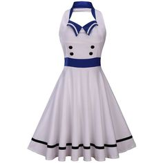 Wellwits Women's Vintage Pin Up Sailor Collar Halter Swing Dress ($17) ❤ liked on Polyvore featuring dresses, halter-neck dress, vintage sailor dress, sailor dresses, vintage swing dress and vintage day dress