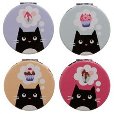 Material: Polyurethane and Leatherette Fabric Outer, Metal and Glass Inner Single item, random colour supplied. Dimensions: Height 6cm Width 6cm Depth 1cm (approx 2.5 x 2.5 x 0.5 inches) Compact Mirror, Decorative Plates, Kids Rugs, Colour, Random, Cats, Metal, Fabric, Fun