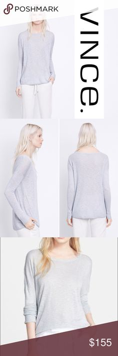 VINCE s u p e r f i n e  sweater NWT Brand new with tags! Vince. superfine Lyon knit crewneck sweater. Italian yarns create the heathered, semi-sheer appearance of a supremely lightweight sweater that's become a favorite of Vince customers. Dropped shoulders further relax the look. Lovely icy grey color. 80% viscose 20% linen. Size L. Bundle and make an even better deal for yourself or make offer! Vince Sweaters Crew & Scoop Necks