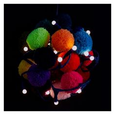 POM POM GALORE 20 LED multi-coloured pom-pom christmas garland