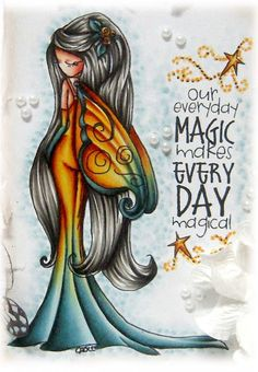Kit and Clowder Online Colouring Classes: Everyday Magic Copic Marker Art, Copic Art, Copic Sketch, Copic Markers, Online Coloring, Adult Coloring, Coloring Pages, Tiddly Inks, Fantasy Mermaids