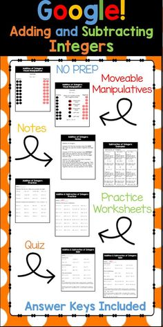 Your students will have fun as you integrate technology into your math curriculum. There are moveable manipulatives to give students a visual of how to add integers. There are also written out notes and example for your students to refer to. There are several pages of problems for your students to do to practice adding and subtracting integers.