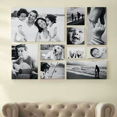Gallery Wall Ideas -love the black and white and the HAPPY family!!