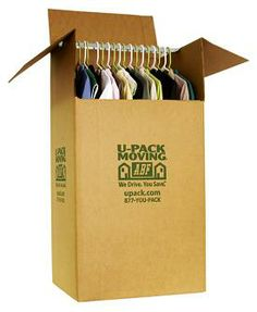 "The wardrobe box--a lifesaver when it comes to keeping your clothes protected and wrinkle-free during a long distance move! U-Pack wardrobe boxes are suitable for hanging dresses, pantsuits, etc. One wardrobe is recommended for every 24"" (2 feet) of closet space. $59.95 plus 10% off with a U-Pack reservation and FREE shipping!"