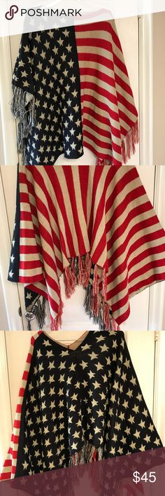 Sweater poncho with fringe in American flag print Sweater poncho with fringe in flag print. One size as there is a neck hole and sides are open. Generous size to fit just about everyone. Super soft knit. Can be worn on either side. 100% acrylic NONE Sweaters Shrugs & Ponchos