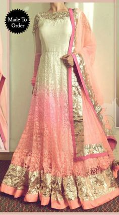 White And Pink Brasso Net Replica Floor Length Anarkali Suit