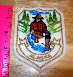 Alaska goldpanner Embroidered Patch - Unused patch - Gold colored thread