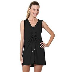 a7a39487daa4a Dotti Swimwear Cover Up Shirred Front Women's Sun Dress. This black dress  swim suit cover up is a tank style dress with a shirred front that ties.