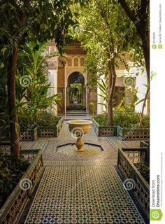 Photo about Bahia Palace. inner yard and fountain . Marrakesh . Morocco. Image of fountain, carved, africa - 95199329 Islamic Architecture, Amazing Architecture, Architecture Design, Moroccan Garden, Persian Garden, Moroccan Design, Moroccan Decor, Moroccan Interiors, Mediterranean Garden