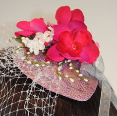 Hot Pink Fascinator  Floral Fascinator  Wedding by TwoBrightStars