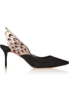 Sophia Webster Angelo cutout leather and suede slingback pumps    NET-A-PORTER