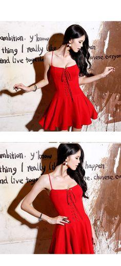 Sleeveless Tie-Up Dress, Red , One Size - Eva Fashion | YESSTYLE