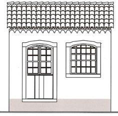 Casa térrea, de duas braças de largura com janela e porta-janela. Rebordo de telhas de canal, faixas nas aberturas de madeira.