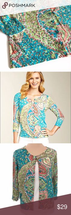 Talbots seaside paisley cardigan Perfect lightweight cardi for warmer weather! Lightweight, 3/4 sleeves, with a beautiful spring color palette. Talbots Sweaters Cardigans