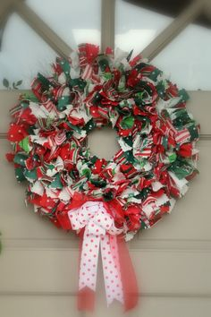 DIY Christmas Rag Wreath Ideas Front Door Festive Mood
