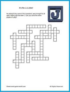 """We have lots of fun crosswords, including this one called """"No J-J-J-oke!"""" How quickly can you solve it? Printable Word Games, Crossword Puzzles, Letter J, Spelling, More Fun, Jokes, Easy, Crossword, Husky Jokes"""