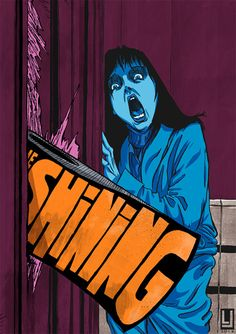 The Shining by Louie Joyce, horror style illustration with text play and stark colours Horror Movie Posters, Best Movie Posters, Cinema Posters, Movie Poster Art, Cool Posters, Horror Movies, Plakat Design, Kunst Poster, Illustration