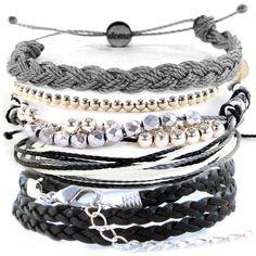 Domo Beads Bracelet Set | Shades Of Gray ($35) ❤ liked on Polyvore featuring jewelry, bracelets, accessories, pulseiras and joias