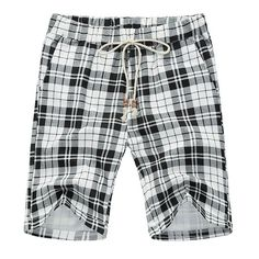 19.67$  Buy now - http://dihfa.justgood.pw/go.php?t=174142502 - Casual Loose Fit Straight Leg Plaid Print Lace-Up Men's Thin Shorts 19.67$
