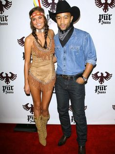 Chrissy Teigen wears a Pocahontas Costume
