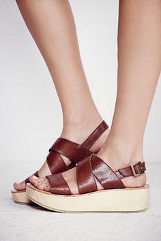 Platform sandals. Faryl Robin + Free People Womens Sun Dried Flatform Sandal