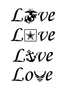 LOVE with military branch logo 5 Inch Vinyl Window Decal - FREE Shipping - milso - Army - Marines - Navy - Air Force - USMC by MotoMadness on Etsy