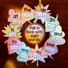 Fun fall projects - Fall activities include Sight Word Wreaths, Alphabet Apple Trees and Ten Frames Pumpkins Sight Word Activities, Word Games, Math Games, Kindergarten Literacy, Starting Kindergarten, Kindergarten Projects, Teaching Sight Words, Fall Projects, Letter Sounds