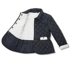 This Riding Jacket is the perfect practical cover-up for autumn. The cut is a stylish slim fit with peplum detail. Features onion quilting, MC engraved snap buttons, and two front pockets. Fashion Design For Kids, Cute Kids Fashion, Toddler Fashion, Kids Outfits Girls, Boy Outfits, Baby Girl Dresses, Baby Dress, Kids Coats, Baby Kind