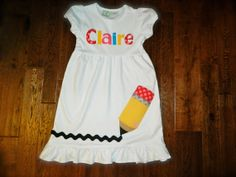 Back to School Dress Pencil Applique- Toddler or Girl's Dress on Etsy, $30.25
