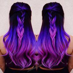 Violet color melt bayalage ombré