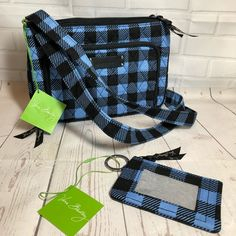 3d399d84f2 Fast shipping and buyer protection. NWT Vera Bradley BUNDLE Alpine Check  Little Hipster Crossbody Bag   matching Zip ID Case.