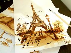 Paris Eiffel Tower – Coffee Painting