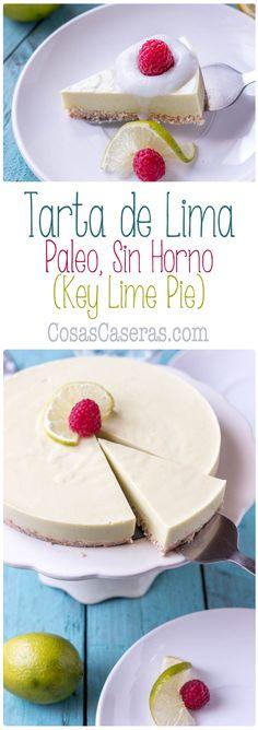 """Suave y cremosa, esta tarta de lima paleo sin horno, conocida como """"key lime pie"""", se hace en un momento, sin lácteos ni colorantes artificiales."""