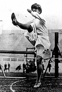 A giant leap for womankind: A female high jumper at the London Olympics in 1908.