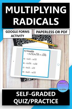 DIGITAL, NO PREP, SELF-GRADING practice multiplying radicals. Engage your high school Algebra students with 10 problems using Google Forms. This resource can be used as a Google Form OR a worksheet activity. Detailed instructions and answer key included. Perfect for distance and online learning. #distance learning #digital #self-graded #radicals #multiplying radicals #google forms Math Skills, Math Lessons, Math Resources, Math Activities, 12th Maths, Fluency Practice, Secondary Math, Algebra 1, Math Stations