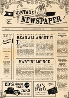 Vector illustration of a front page of an old newspaper. Use this layout template to design your own custom newspaper. Includes sample masthead, text headlines and copy. Also includes design elements...