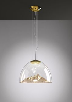 The Mountain View Pendant is made of transparent blown glass, handmade by master craftsmen. Available with a Chrome finish and Grey or Crystal mountains or a Gold finish with Amber or Crystal mountains. Integrated watt 120 volt warm white LED m Modern Pendant Light, Glass Pendant Light, Pendant Lamp, Pendant Lighting, Chandelier, Luminaire Led, Deco Led