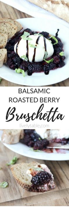 Roasted berries and creamy burrata cheese are a delicious combination atop crisp sourdough toast in this Balsamic Roasted Berry Bruschetta with Burrata. Fruit Recipes, Whole Food Recipes, Snack Recipes, Dessert Recipes, Yummy Recipes, Healthy Appetizers, Appetizer Recipes, Healthy Snacks, Healthy Summer Recipes