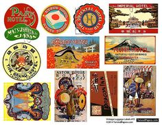 Vintage Travel Luggage Labels and Stickers from Asia and the Orient    This is a digital collage that you can download to use in creating greeting